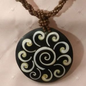 Jewelry - Twisted Bead Necklace w Hand painted Wood Pendant
